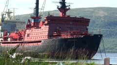 """Atomic icebreaker """"Arktika"""" is anchored in anticipation of recycling. Stock Footage"""