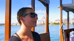 4K Woman Tourist Passenger on Harbor Ferry Taxi, Victoria BC, Canada Stock Footage