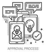 Approval process line icons Stock Illustration