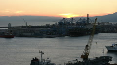 A view of the port of Genoa during a sunset Stock Footage
