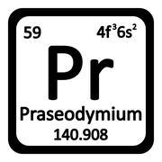 Periodic table element praseodymium icon. Stock Illustration