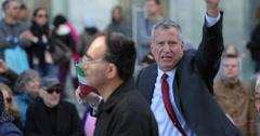 New York City mayor De Blasio at Columbus parade 2016 Stock Footage