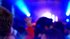 4K Rock Music Festival Crowd, Dancing People Light and Happiness Stock Footage