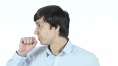 Coughing, Sick Businessman Suffering From Cough , patient Stock Footage