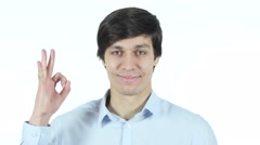 Businessman Showing Ok Sign Stock Footage