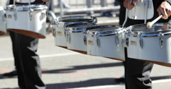 Marching band drums playing percussions Stock Footage
