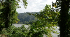 Potomac River Mountains and Pathway Near Harpers Ferry Panning, 4K Stock Footage