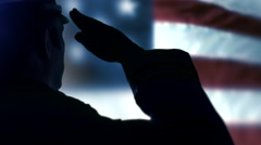 4K Blowing USA Flag, Solemn Hand Salute, United States Military Officer Veteran Stock Footage