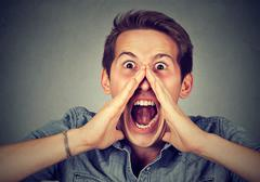 Headshot displeased angry man screaming Stock Photos