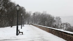 A  view from the Prague castle Vysehrad  to the Wintry street. Stock Footage