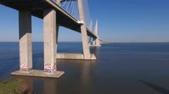 Vasco da Gama Cable stayed bridge river tagus in lisbon Portugal aerial shot 4k Stock Footage