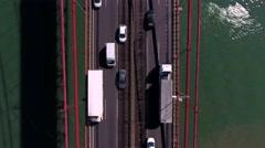 Suspension bridge 25 de april over the tagus river in lisbon, aerial shot 4k Stock Footage