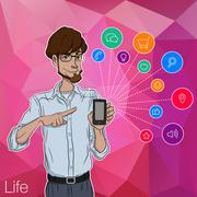 Characters with mobile app notification Stock Illustration
