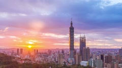 City of Taipei from day to night(no flickering) Stock Footage