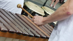 Young musician playing xylophone Stock Footage