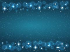 Frame with stars on the dark blue background, sparkles golden symbols - star Stock Illustration
