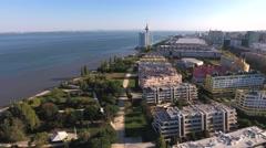River tagus tejo lisbon Portugal aerial shot 4k Stock Footage