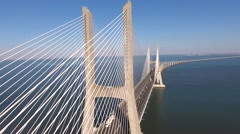Vasco da Gama Cable stayed bridge river tagus in lisbon Portugal aerial shot 4k Stock Footage