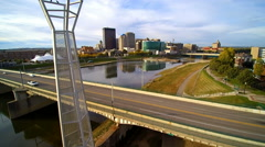 Morning aerial motion shot of downtown Dayton, Ohio USA Stock Footage