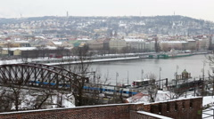 A  view from the Vysehrad  to the Wintry Prague and Vltava river Stock Footage