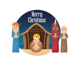 Three wise men with gift and baby jesus design Stock Illustration