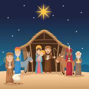 Mary joseph jesus wise men and shepherd design Stock Illustration