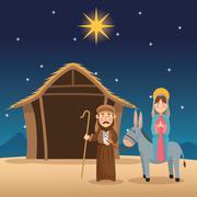 Mary and joseph cartoon design Stock Illustration