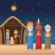 Mary joseph jesus and wise men design Stock Illustration