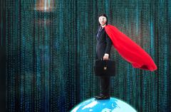 Man with superpowers ruling the world Stock Photos