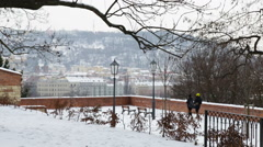 A view from the castle Vysehrad  to the Wintry Prague Stock Footage