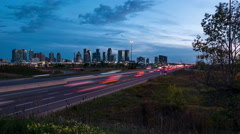 Sunset Day to Night Time Lapse Mississauga 403 Highway Stock Footage