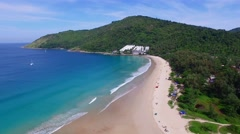 Aerial view on the beach. Nai Harn. Phuket. Thailand. Stock Footage