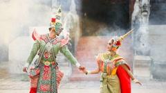 Tosakan (Ravana) and Mandodari , Thai classical mask dance of the Ramayana Epic Stock Footage