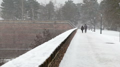 Vysehrad park in Prague covered with snow on a snowy day Stock Footage