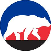 Grizzly Bear Walking Silhouette Circle Retro Stock Illustration