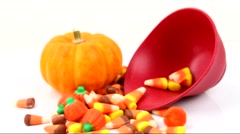Halloween candy on white background. Stock Footage