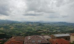 Panorama of the Italian Apennines from Mount Titan in San Marino Stock Photos