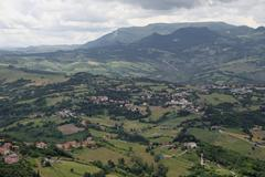 Panorama of the Apennines mountains and the italian valleys Stock Photos