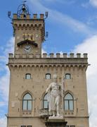Statue of Liberty in the main square of microstate of San Marino and the anci Stock Photos