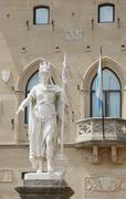 Warrior of white marble stone called Statue of Liberty in San Marino Microsta Stock Photos