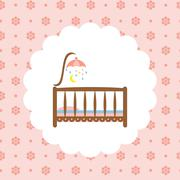 Baby crib icon on floral pattern Stock Illustration