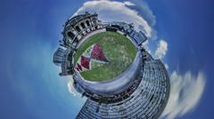 Little Tiny Planet 360 Degree Kiev Sights Opera Daytime Independence Square Stock Footage