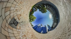 Little Tiny Planet 360 Degree Kiev Sights Shcors Memorial Lawyer's Day Stock Footage