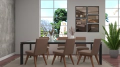 Interior dining area. 3d illustration Stock Footage