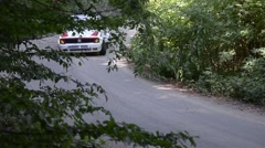 Rally cars in the forest in summer Stock Footage