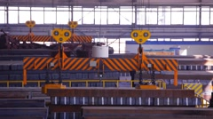 Close up of a factory overhead crane Stock Footage