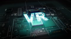 Hologram typo 'VR' on CPU chip circuit, grow artificial intelligence technology. Stock Footage