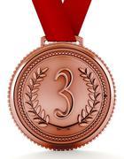 Bronze medal with number three. 3D illustration Stock Illustration