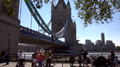 Great Britain England City of London Tower Bridge from north Thames River shore Stock Footage