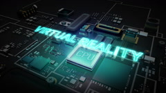 Hologram typo 'VIRTUAL REALITY' on CPU circuit, artificial intelligence. Stock Footage